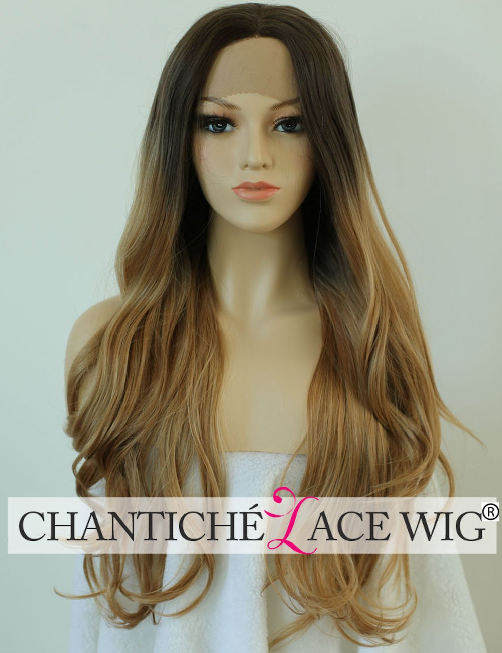 Chantiche Halloween Wavy Wigs for Women Long Synthetic Hair Ombre Brown Roots Blonde Lace Front Wig uk for Women High Quality Heat Resistant Fiber Half Hand Tied 24 inches Chantiche Lace Wig