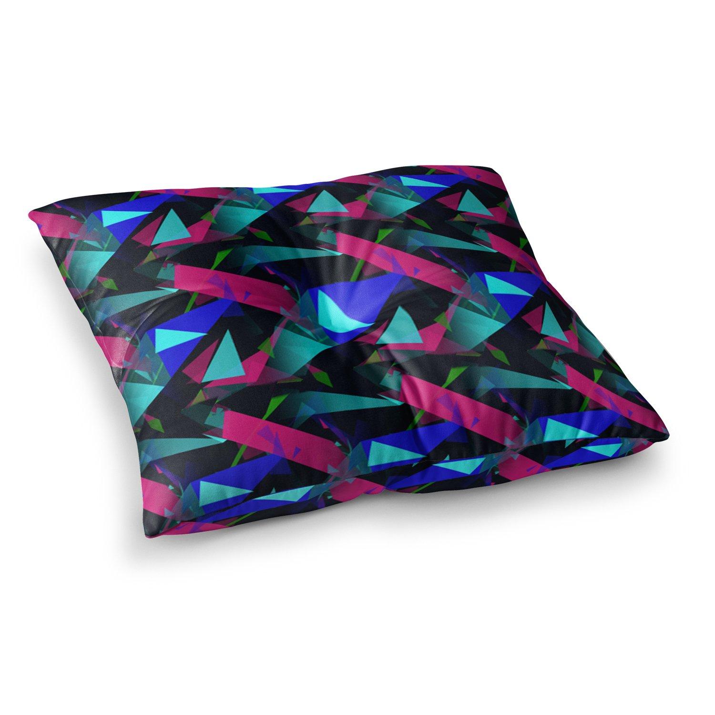 23 x 23 Square Floor Pillow Kess InHouse Alison Coxon Confetti Triangles Dark Magenta Blue