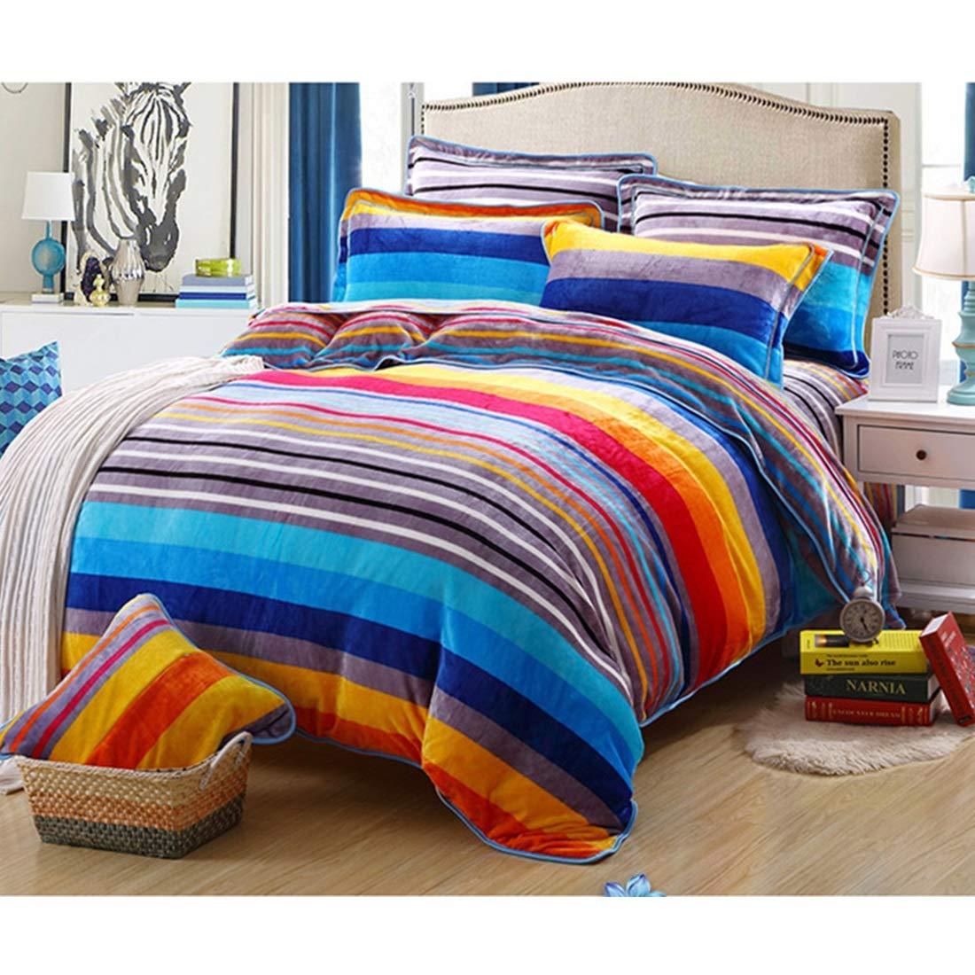完全な枕カバー寝具セット 4ピースレインボーシリーズフランネル布団カバーセットピローケースカバー付き快適なベッドシーツセット (サイズ : Queen) B07R2NQBMQ  Queen