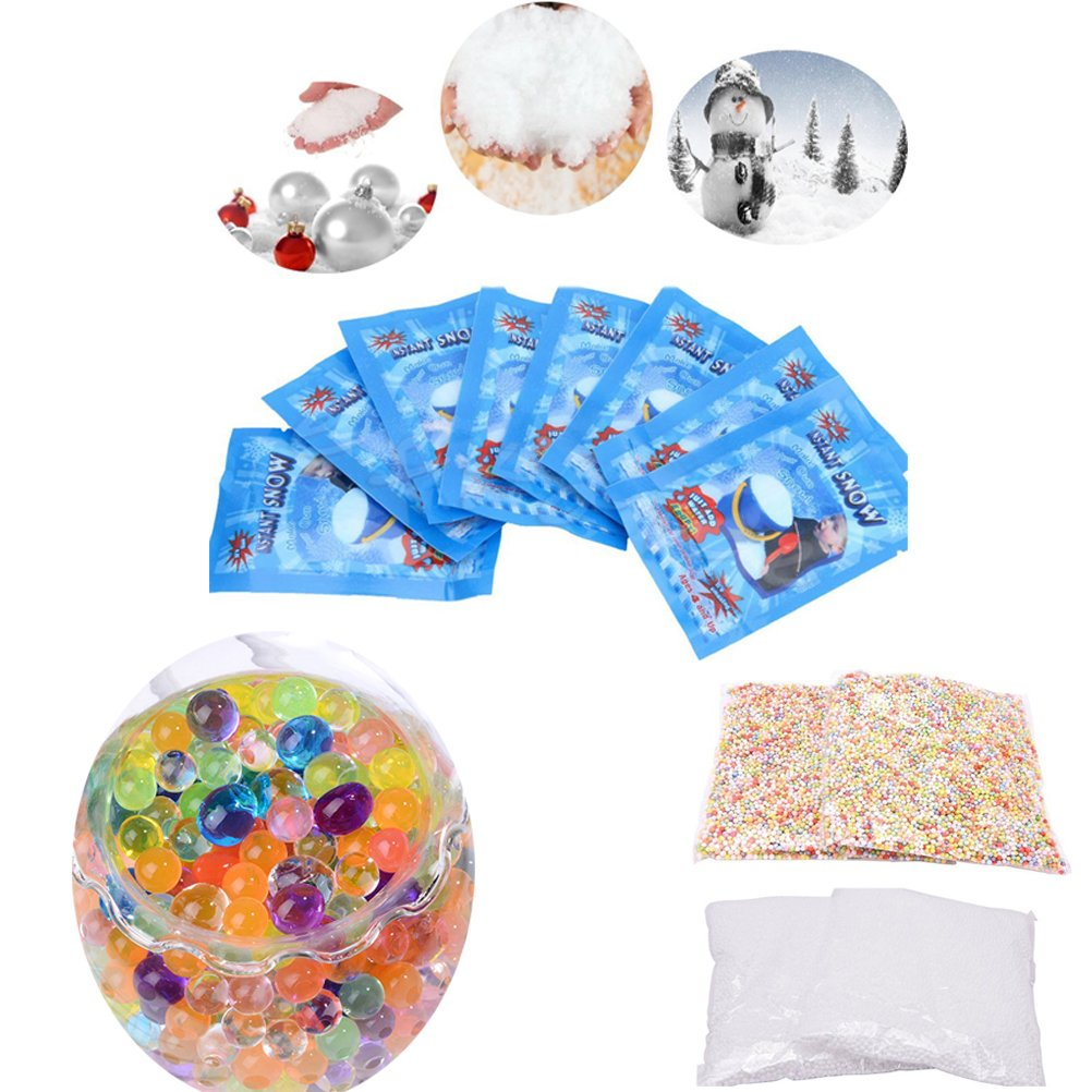 CosCosX 10 Pack SAP Magic Snow Instant Fake Fluffy Snow Powder Artificial Slime Simulation Snow,2 Pack 0.12 Inch Foam Balls Styrofoam Foam Ball,20 Pack Large Water Beads Water Pearl Growing Jelly Ball