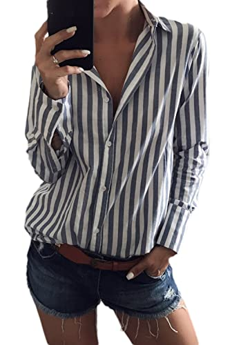 La Mujer Casual Rayas Manga Larga Cuello En V Blusa Holgada Oficina Shirt Top