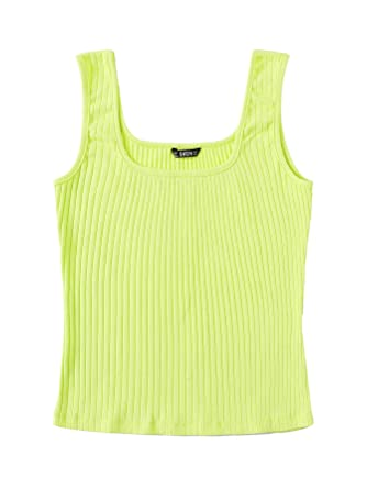 She In Women's Basic Scoop Neck Ribbed Knit Stretchable Vest Tank Top by She In