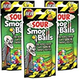 Toxic Waste - Sour Smog Balls - Deliciously Hard Candy with a Chewy Sour Center, Six Flavors, 3 oz. - 3 bags