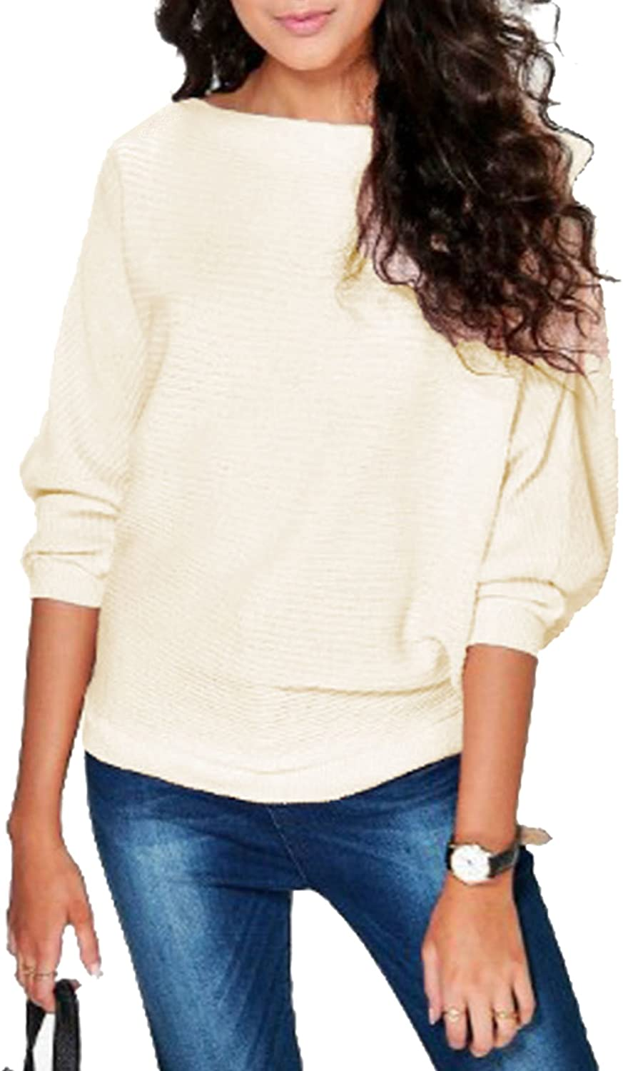 Vanilla Inc SA Fashions /® Ladies Knitted Casual Loose Batwing Long Sleeves Knit Pullover Sweater Jumper Oversized Thick Ribbed Winter Warm Chunky Baggy Top 8-14 , Cream M//L 12-14