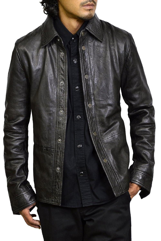 (ハルフ)Haruf レザージャケット レザーシャツ メンズ 本革 レザーブルゾン ラムレザー 黒 B078HQBC3W M