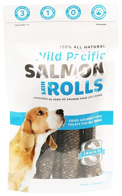 Amazon.com: Snack 21 6-Pack salmón piel rollos para perros ...