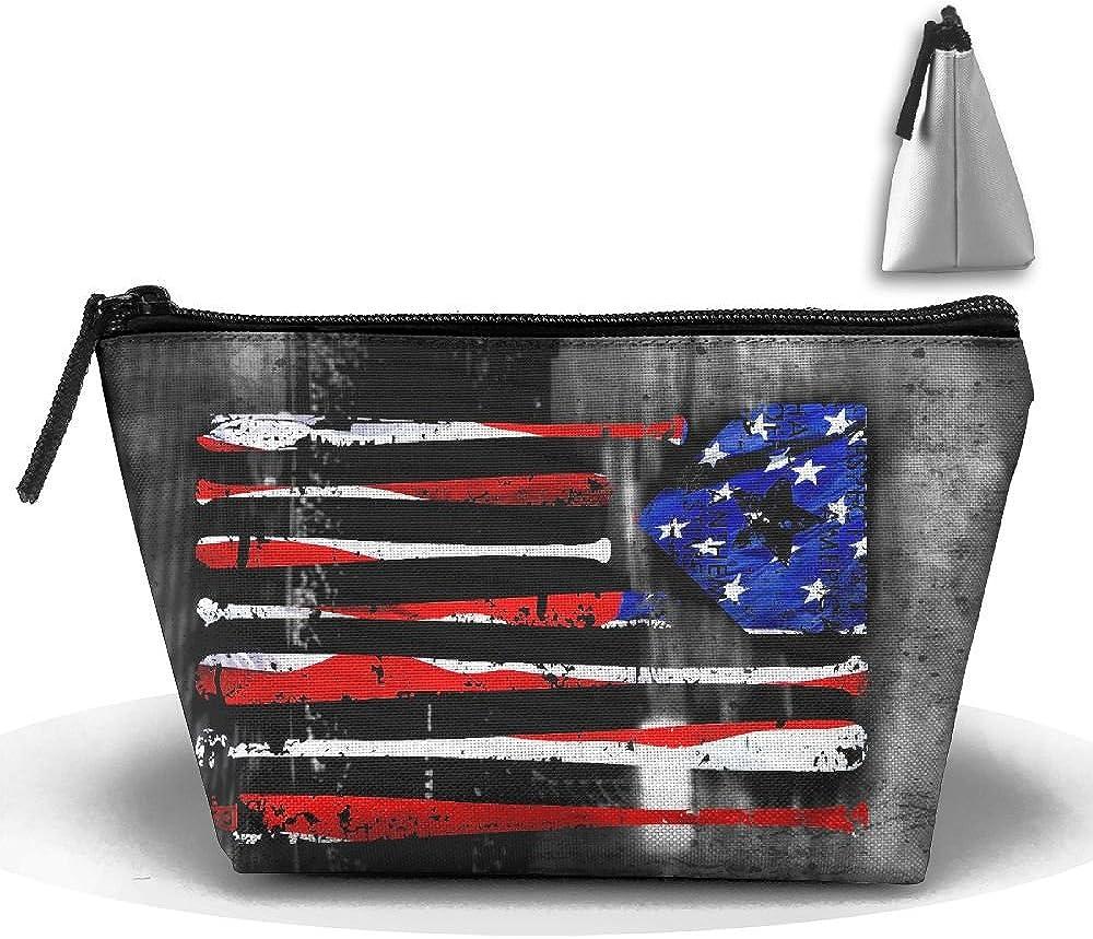 US American Flag Basebal Multifunction Portable Pouch Trapezoidal Storage Travel Bag