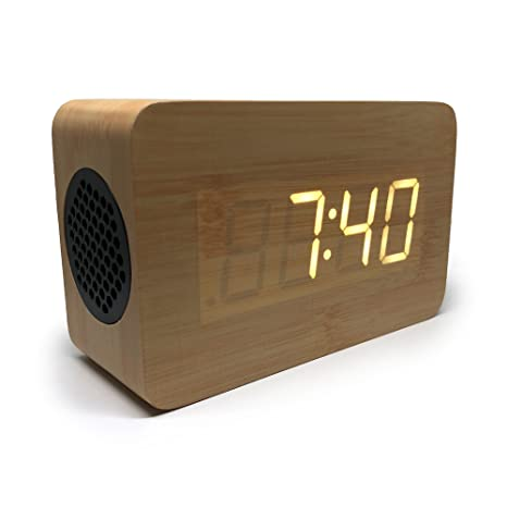 Bluetooth Alarm Clock: Portable Speaker Digital Stereo Wooden Home Office Bedroom Travel LED Display Rechargeable