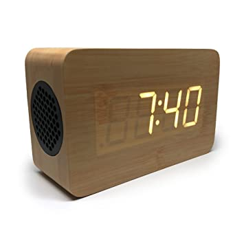Bluetooth Alarm Clock Portable Speaker Digital Stereo Wooden Home Office Bedroom Travel Led Display Rechargeable Removable Backup Battery Time Date