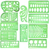 School Office Supplies Geometric Plastic Measuring Template Draft Rulers for Drawing Drafting yalansmaiP 4 Pieces Circle Drawings Templates Stencils with Erasing Shield Building Engineering