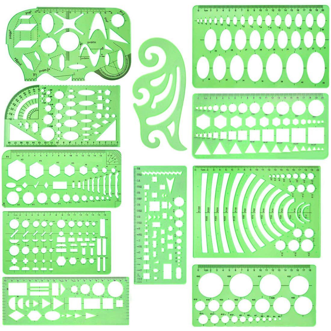 11 Pcs Geometric Drawings Templates Measuring Rulers Plastic Measuring Templates Plastic Geometry Stencils with 1 Pack Poly Zipper Envelopes for Office and School, Building Formwork, Drawings Drafting by Mayboos