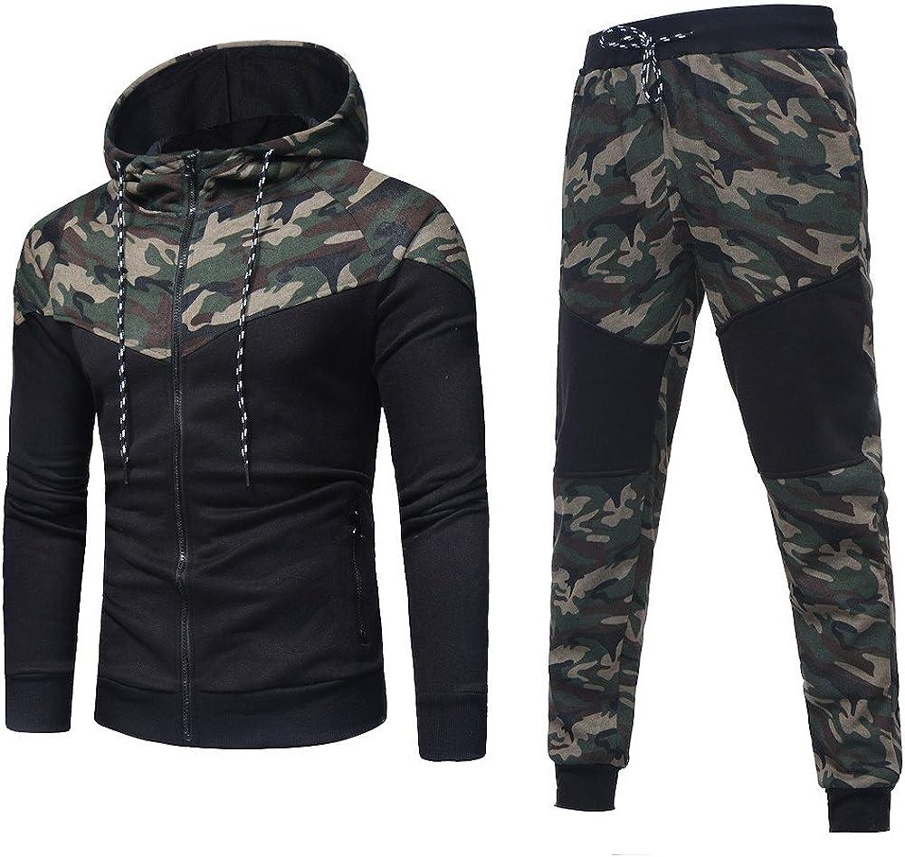 Men Sport Sets,Jchen Mens Teen Boy Autumn Spring Camouflage Sweatshirt Pants Sets Sports Tracksuit Suit