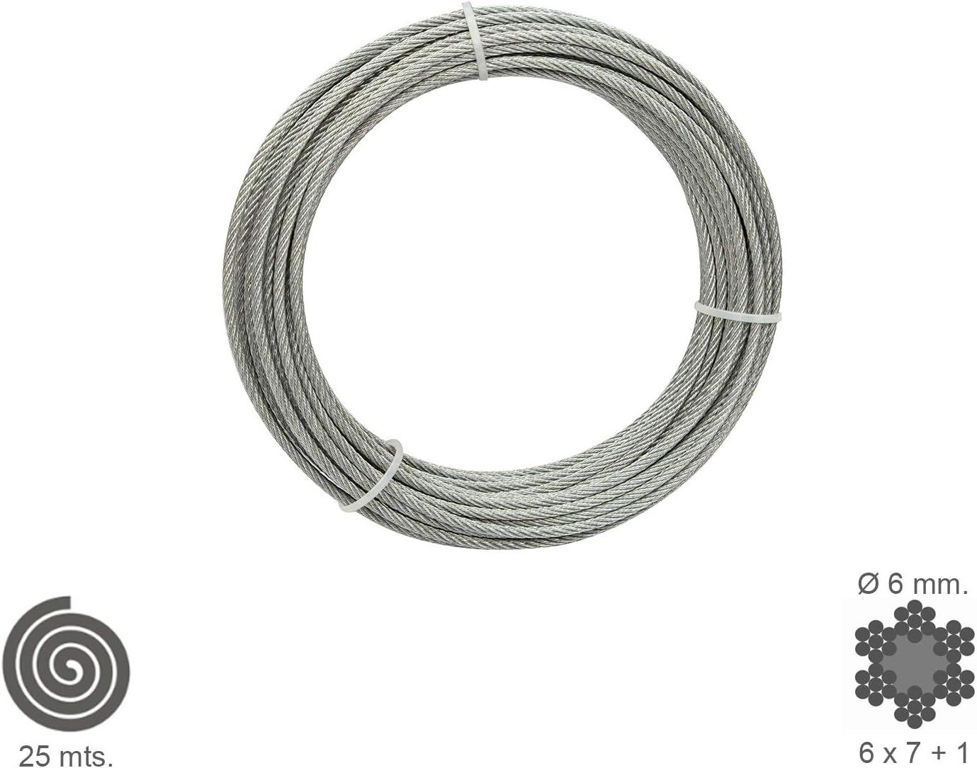 no elevaci/ón rollo 25 m Cable Galvanizado 6 mm Wolfpack 1120120