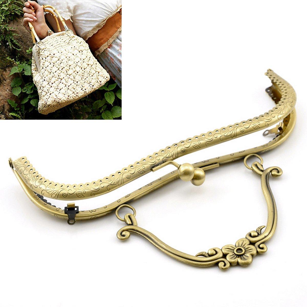 Prettyia 21cm Metal Frame Kiss Clasp Lock for Handbag Purse Coin Bag Bronze