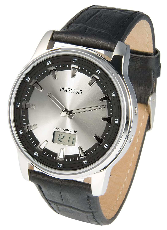 Sportliche MARQUIS Herren Funkuhr (Junghans-Uhrwerk) Tachymeter Armbanduhr  - Lederarmband - EdelstahlgehÄuse 964.6076
