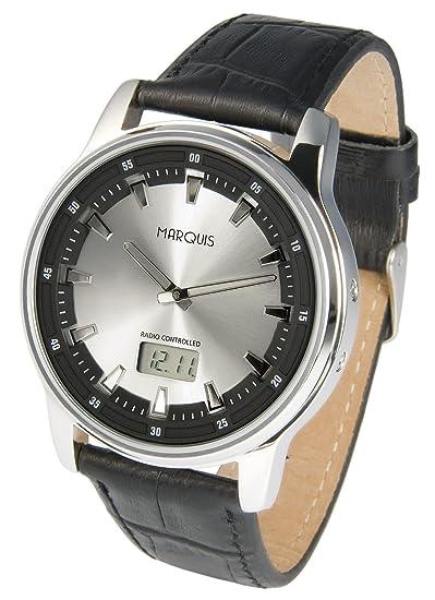 Reloj deportivo Marqués eysse Taquímetro (Junghans-negras) del reloj, correa de cuero, de acero inoxidable 964.6076: Amazon.es: Relojes