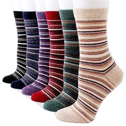 Egurs 6 Pares Calcetines de Lana de Punto para Mujer Invierno Cálido Grueso Vintage Calcetines Casuales