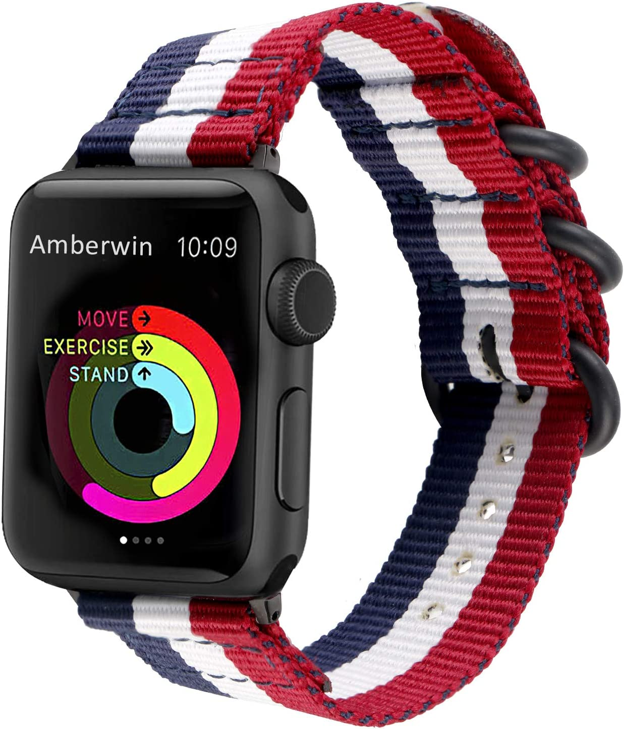 Amberwin Compatible for Apple Watch Band 44mm 42mm 40mm 38mm, Nylon NATO iWatch Band Replacement Strap for Apple Watch SE Series 6/5/4/3/2/1