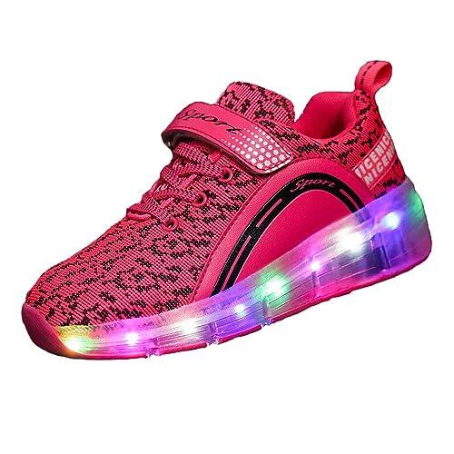 FLARUT Unisex Niños Zapatillas 7 Colores Luces LED Con Ruedas Deporte Patín Ruedas Luminoso Para Niños, Pink, 33 EU: Amazon.es: Zapatos y complementos