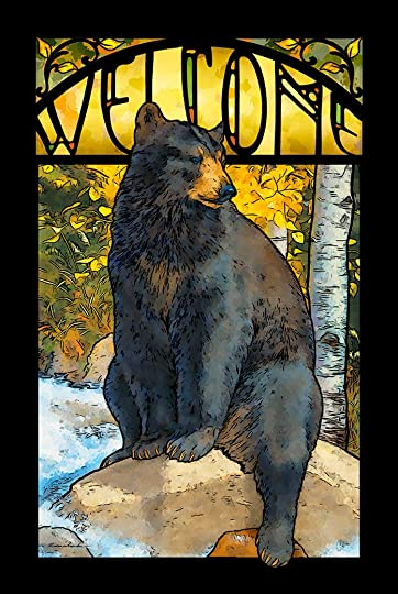 The Black Bear Paws Advertising Stained Glass Art by Lee Kromschroeder