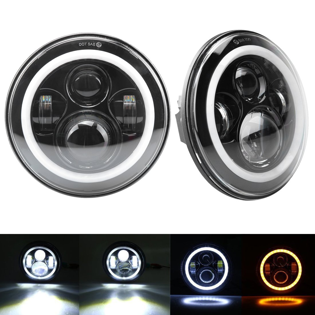 Amazon.com: 7 Inch Cree LED Headlights with White Halo Ring Angel ...