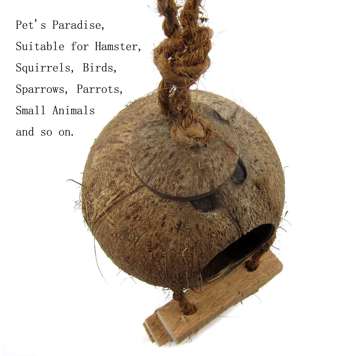 OMEM Coconut Shell Bird House,Hamster Cage and Hideouts with Ladder,Bird Cage Toy by OMEM (Image #3)