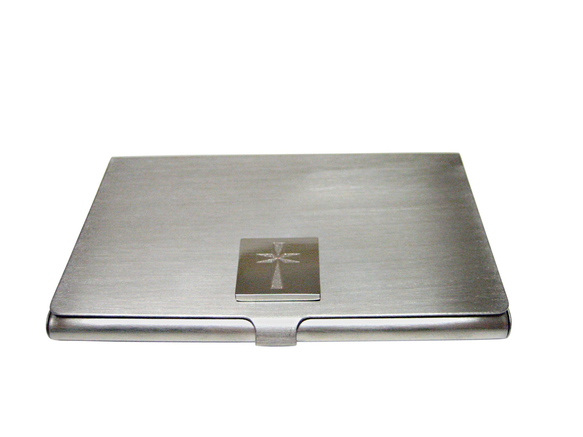 Etched Silver Toned Religious Cross Business Card Holder