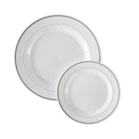 Masterpiece Premium Quality Heavyweight Plastic Plates 25 Dinner Plates and 25 Salad Plates  sc 1 st  Amazon.com : premium plastic dinnerware - pezcame.com