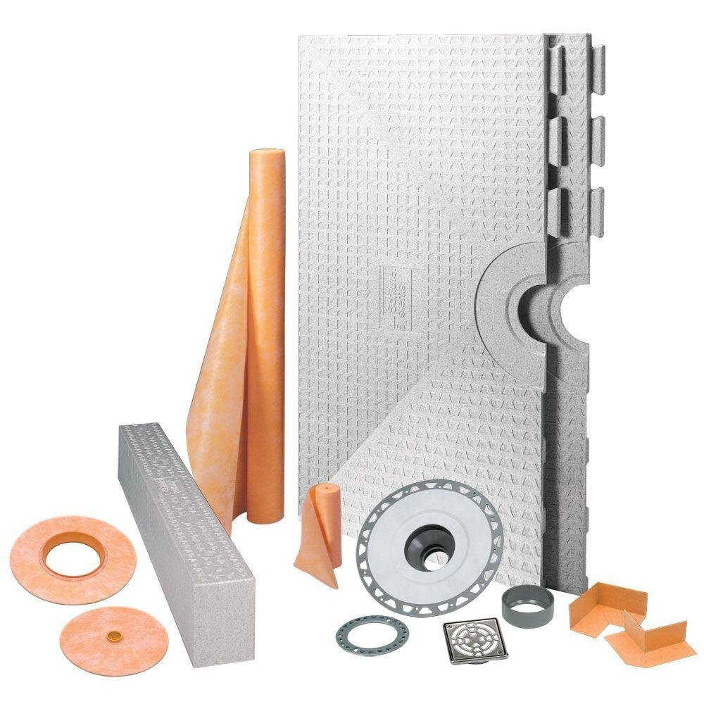 Schluter Systems KK122PVCE Kerdi 48-Inch x 48-Inch PVC Shower Kit with Stainless Steel Drain by Schluter