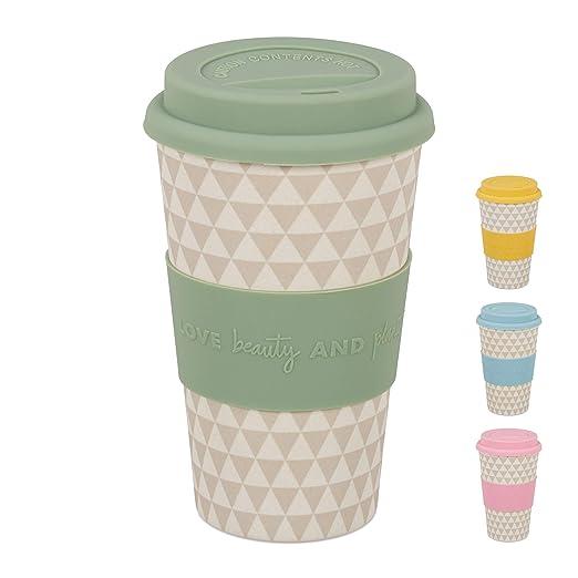 Relaxdays Taza Café para Llevar, 400 ml, Vaso Reutilizable con ...