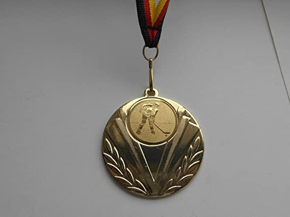 Gold Fanshop L/ünen 10 St/ück Medaillen e103 mit Alu Emblem 50mm Spiele mit Medaillen-Band - Gro/ße Stahl 70mm Poker Skat