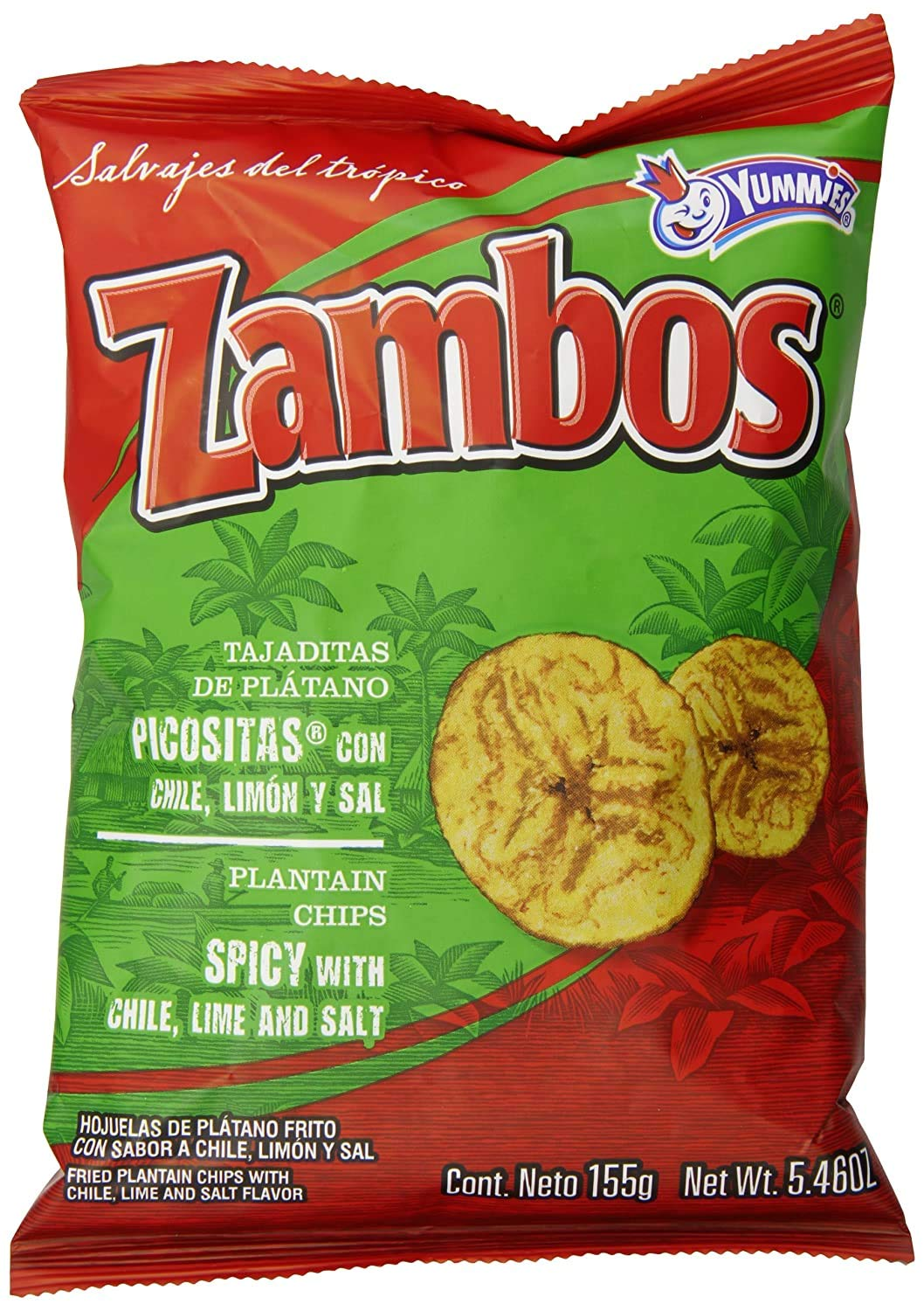 Zambos Plantain Chips: Spicy with Chili,Lime and Salt (Tajaditas de Plátano con Chile + Limón y Sal) Crunchy with spicy taste that many like | Salvajes del Trópico | 5.46 ounces (155grams) 3 pack