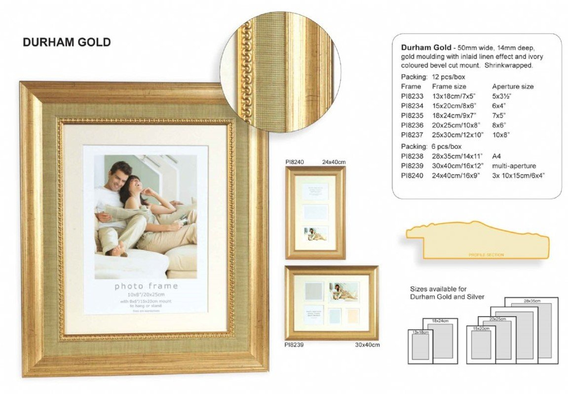 Set of Durham (8238) 28x35 cm and DIN A4 gold decor Photo Frame with ...