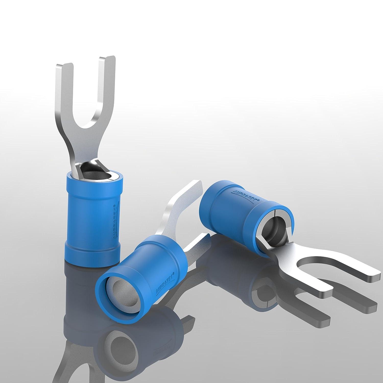 AUPROTEC 100x Connettore a Forcella 0,5-1,5 mm/² rosso foro /Ø M5 SV Capicorda Preisolati PVC Connettori a Forchetta Rame Stagnato Terminali Crimp per Cavi Fili Elettrici