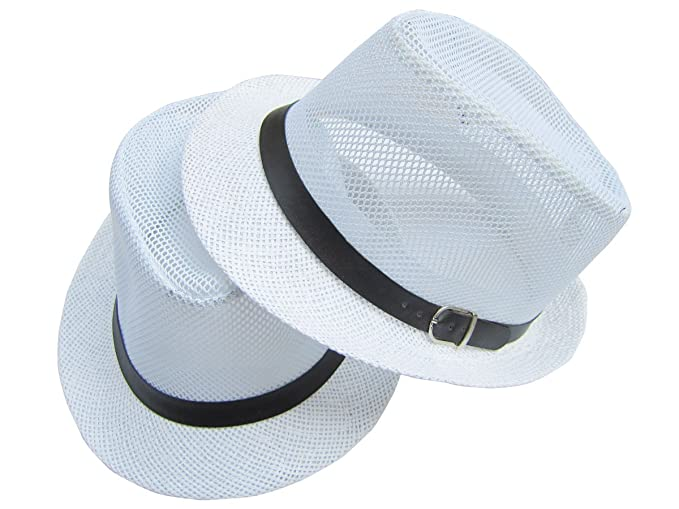 2dc60db75 Bellcon Mesh Fedora Hat for Men White Mesh Fedora Hat Panama Straw Hat for  Women