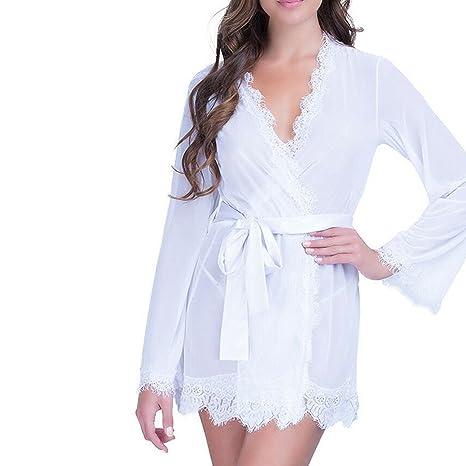 Lencería Mujer, YeeHoo lencería babydoll ropa de dormir lencería de encaje capa de dormir + tanga: Amazon.es: Ropa y accesorios