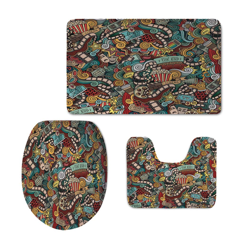Fashion 3D Baseball Printed,Doodle,Cinema Items Combined in an Abstract Style Popcorn Movie Reel The End Theatre Masks Decorative,Multicolor,U-Shaped Toilet Mat+Area Rug+Toilet Lid Covers 3PCS/Set