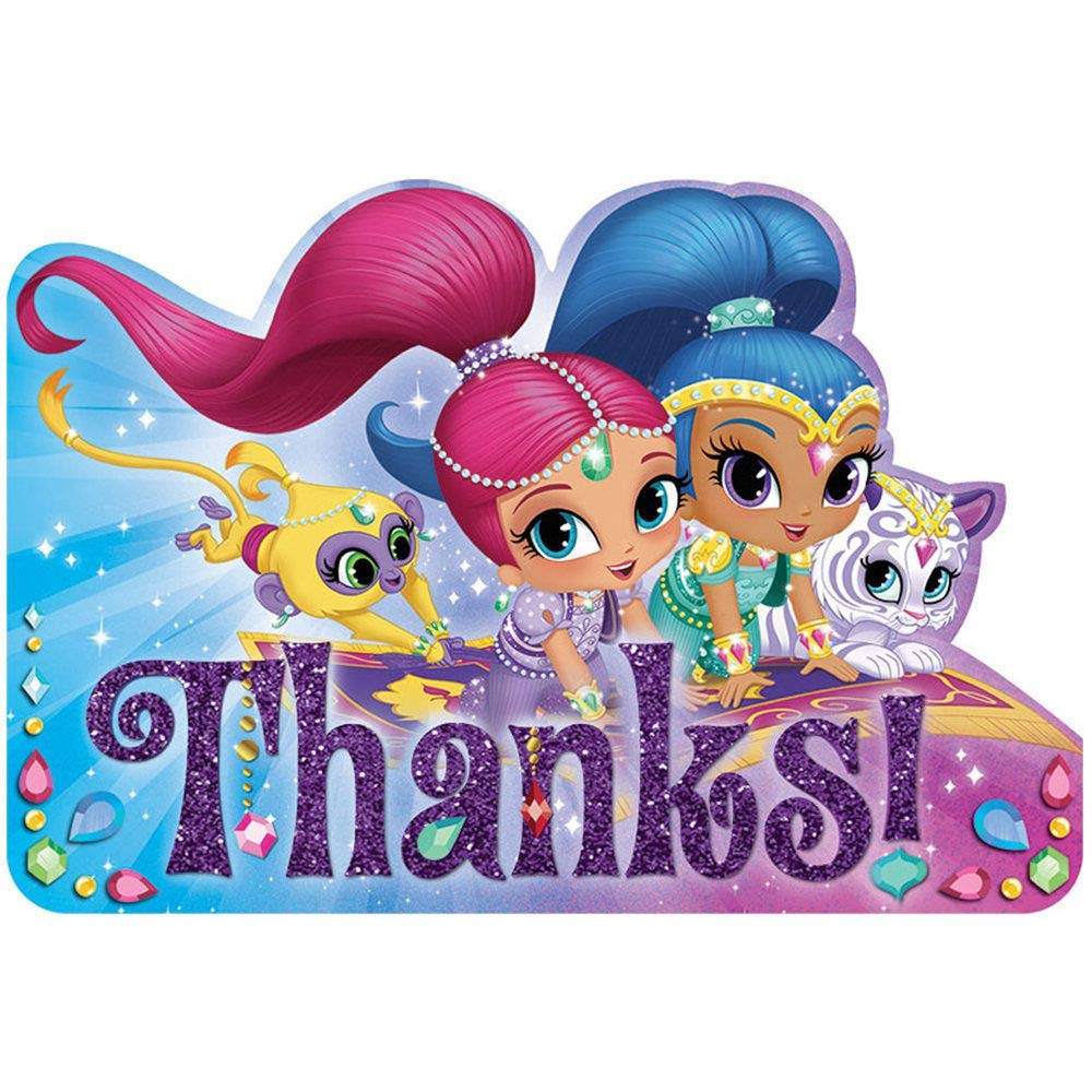 Amscan Postcard Thank You Cards | Shimmer Shine Collection | Party Accessory