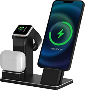 3 in 1 Aluminum Alloy Charging Stand Compatible with Apple Watch Series 6/5/4/3/2, AirPods Pro and Charger Stand Dock Holder for iPhone 12/11/11 Pro/Max/Xs/XR/X/8/8Plus/7 Plus /6s(Black )