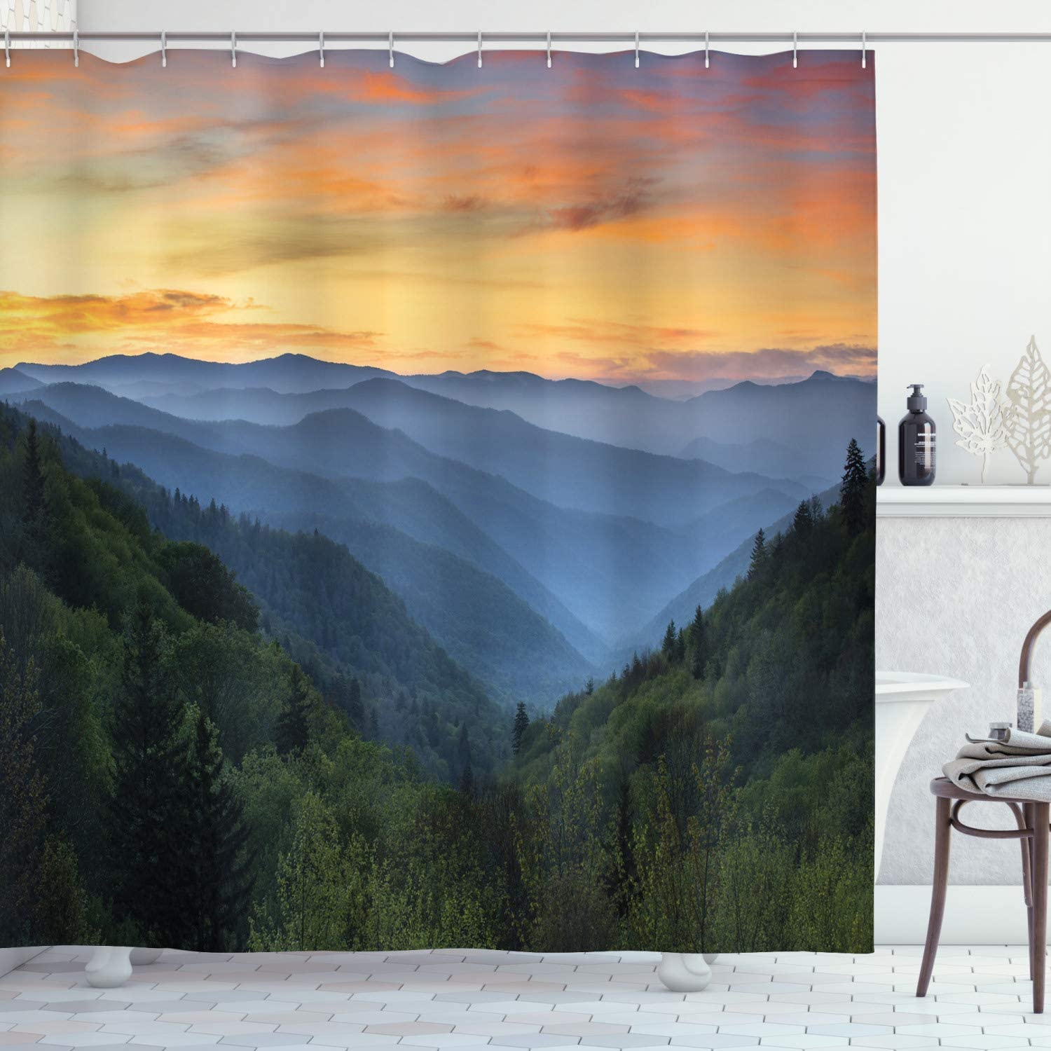 Lunarable Misty Mountains Shower Curtain, Outdoor Scene Photo with Forest at Sunset Smokey Valley Print, Cloth Fabric Bathroom Decor Set with Hooks, 70