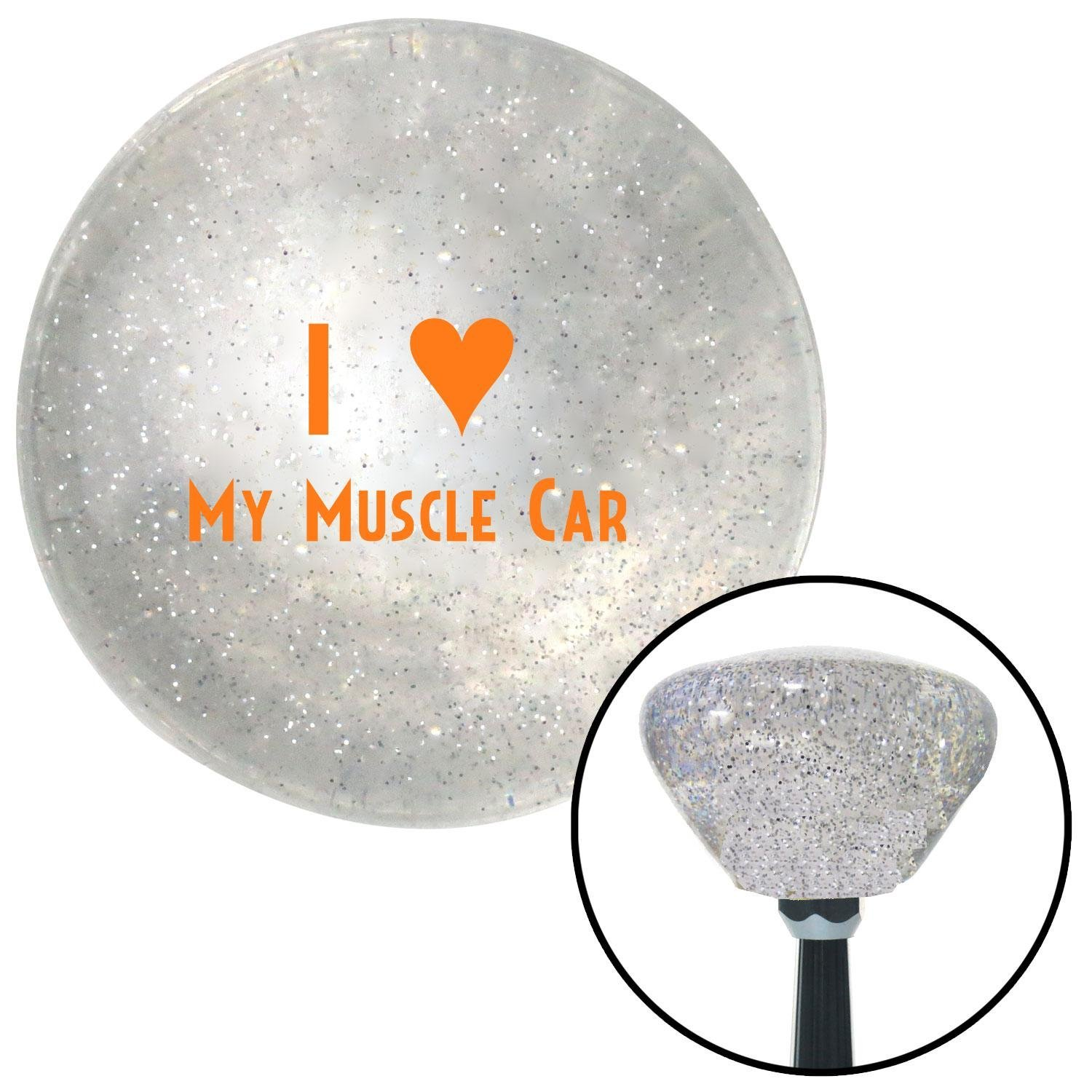 Orange I 3 My Muscle CAR American Shifter 161312 Clear Retro Metal Flake Shift Knob with M16 x 1.5 Insert