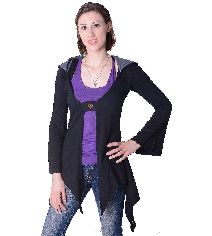 Baumwoll Sweatjacke in ausgefallenem Design mit Zipfelkapuze - Damenjacke zum Überziehen