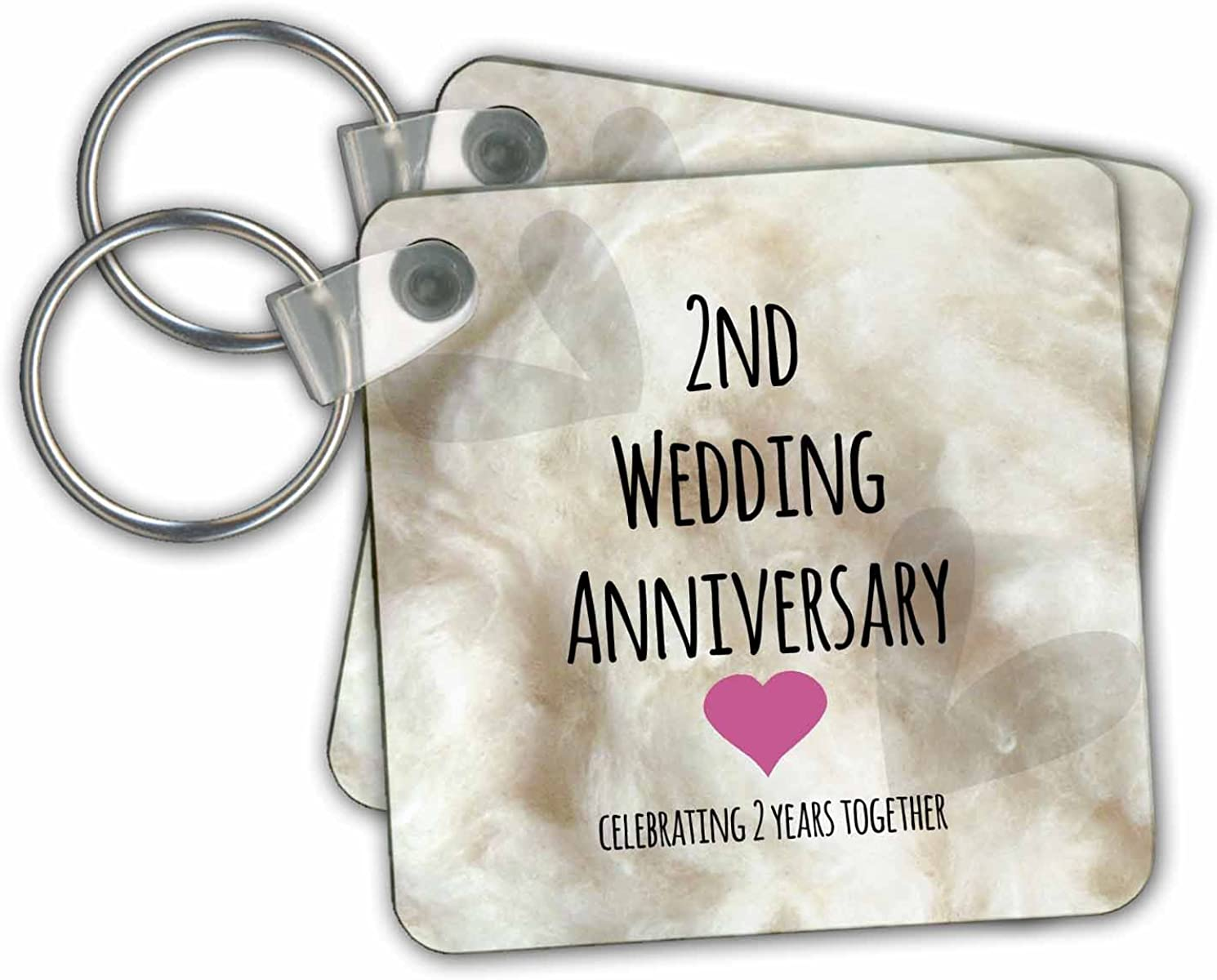 Amazon Com 3drose 2nd Wedding Anniversary Gift Cotton Key Chains 2 25 X 2 25 Set Of 2 Kc 154429 1 Office Products