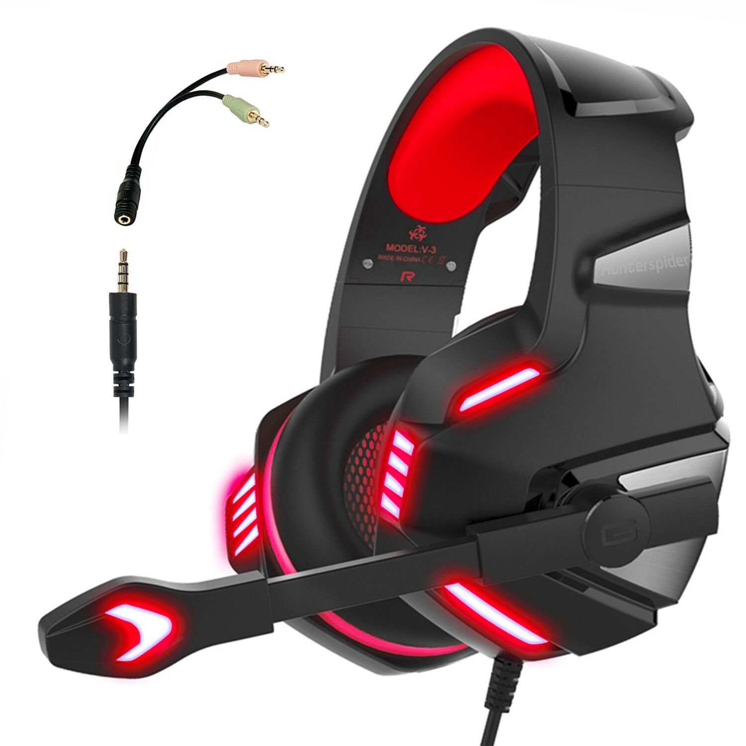 Gaming Headset for PS4 Xbox One, Micolindun Over Ear Gaming Headphones with Mic Stereo Surround Noise Reduction LED Lights Volume Control for Laptop, PC, Tablet, Smartphones Hunterspider V3red
