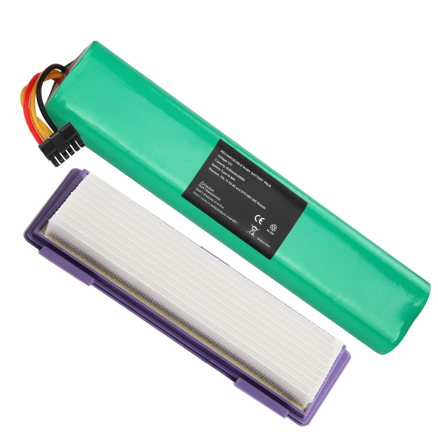 Fancy Buying NI-MH 12V 4000mAh Extended Battery with HEPA Fliter for Neato Botvac Series and Botvac D Series Robots Botvac 70e, 75, 80, 85 Robotic Vacuum Cleaner 945-0129 945-0174
