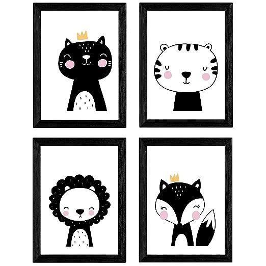 Nacnic Set de 4 láminas Zorro, Leon, Gato y Tigre. Posters de ...