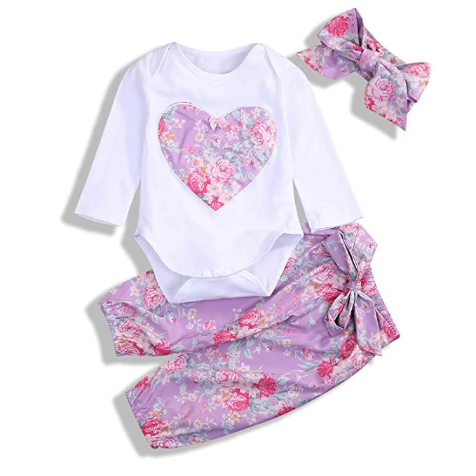 GSHOOTS Baby Girls  Floral Printed Applique Romper with Floral Pants (80 6- cf594fba4