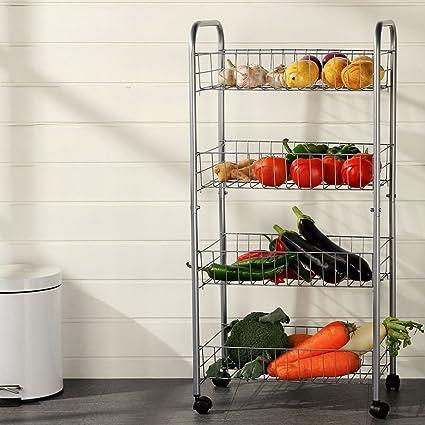 Amazon.com: Estanterías 4 ruedas con ruedas, estantes de ...