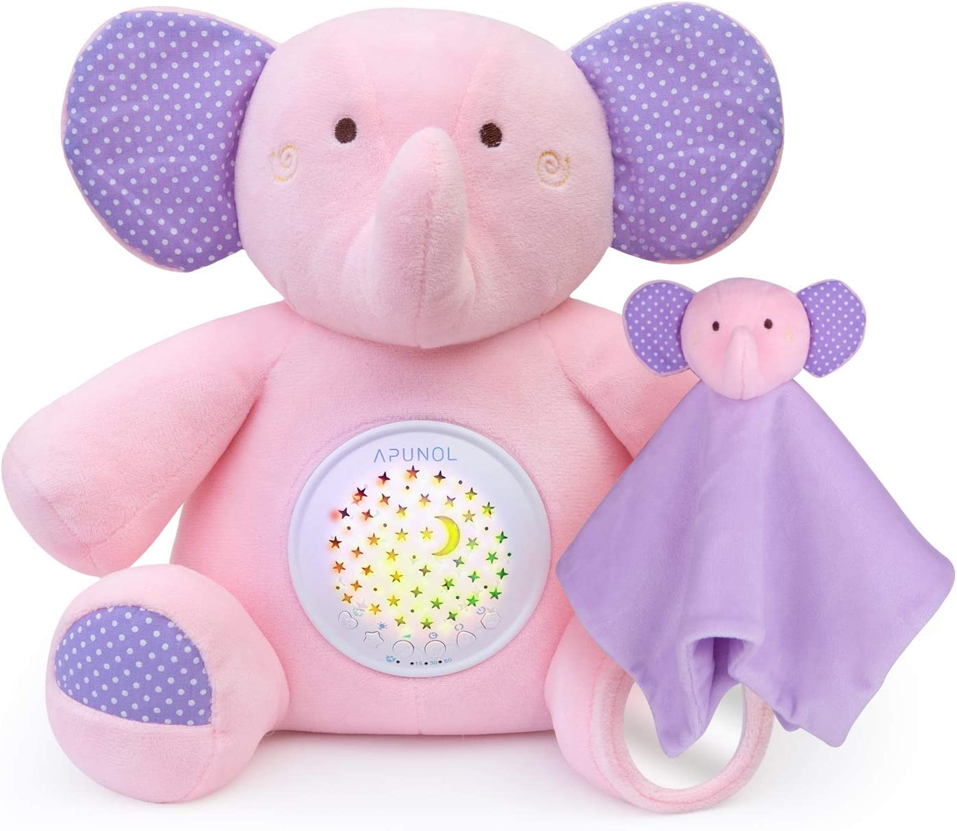 APUNOL Peluche Bebés Musical, Recargable Proyector Bebes Luces y Musica Juguete Elefante regalos para bebes recien nacidos con Chupete para dormer, Sensor de llanto y 18 Canciones de Cuna