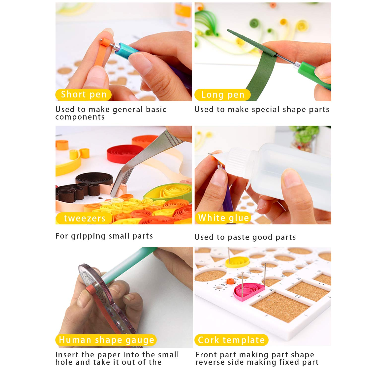Wisolt Quilling Paper Set Assorted Colors with 8 Quilling Tools and 30 Colors 600 Strips DIY Design Handcraft Paper Quilling Kit